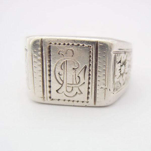 jugendstil herren silber siegel ring initial e monogramm lg silver seal ring ebay. Black Bedroom Furniture Sets. Home Design Ideas