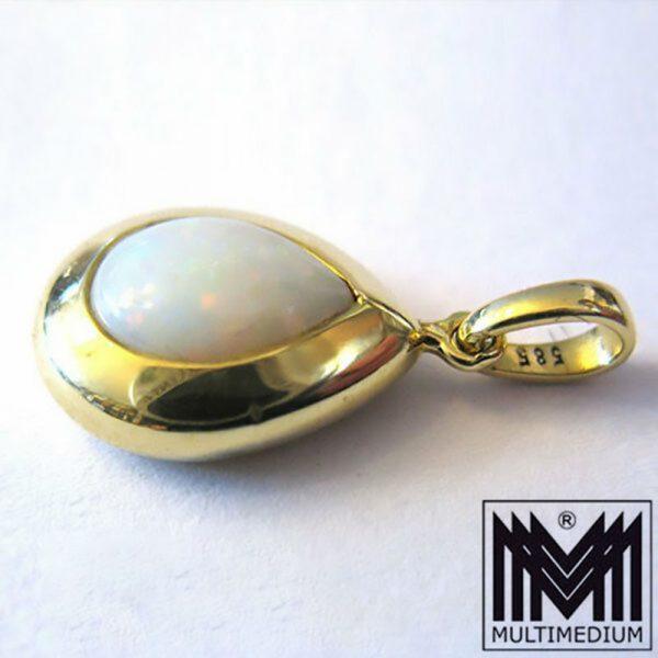 - VERKAUFT - Gold Anhänger mit Opal gefasst gestempelt 585 gold pendant