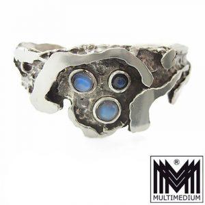 Modernist Silber Armreif Armband Mondstein silver bracelet moonstone R. De. 835