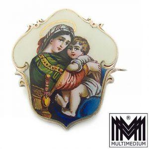 Jugendstil Emaille Silber Brosche Raphael Madonna Sedia enamel brooch
