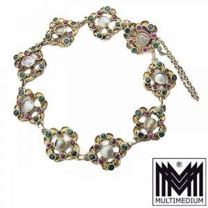 Jugendstil Silber Armband Armkette Chrysopras Granat Perlmutt silver bracelet