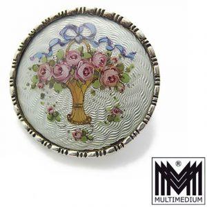Jugendstil Silber Brosche Heinrich Levinger Pforzheim Emaille silver enamel