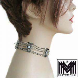 -Jugendstil-Silber-Collier-de-chien-Halskette-Perlmutt-Saphir-filigran-antik-