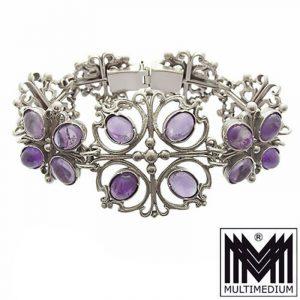 Silber Armband Amethyst signiert im Gothik Jugendstil silver bracelet