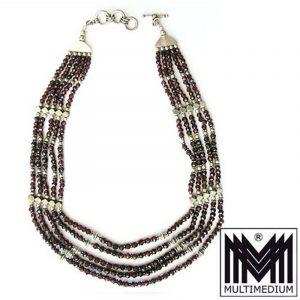 Silber Kette Granat Hals kette silver necklace collier garnet