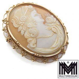 Sehr große vintage 585 Gold Brosche mit Muschel Kamee 14 Karat cameo brooch 14ct