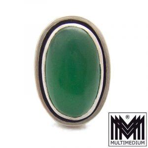 Achat Silber Ring signiert Georg Kramer Ribnitz-Damgarten grün silver ring agate