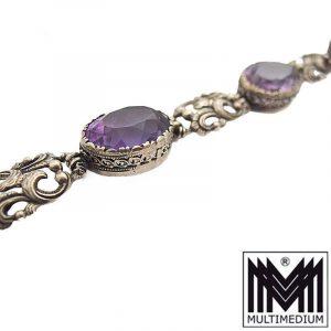 Jugendstil Silber Armband Amethyst signiert HO 835 Art Nouveau silver bracelet