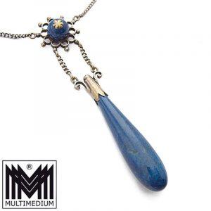 Jugendstil Silber Lapis Lazuli Lavaliere Collier Halskette art nouveau necklace