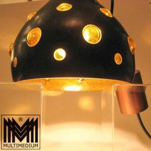 Space Age 60er 70er Deckenlampe Kupfer Hänge Lampe bubbles Glas Gelb