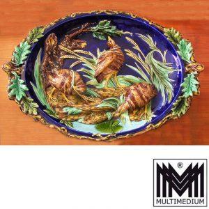 Jugendstil Keramik Schale von Sarregueminnes mit Wachteln