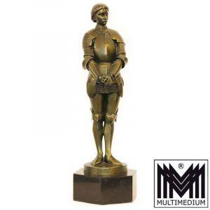 Louis Ernest Barrias Jeanne d'Arc Jugendstil Bronze Figur Susse Freres