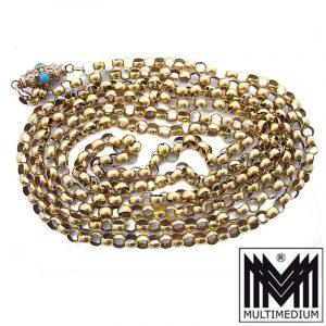 Seltene antike Jugendstil 585 Gold Collier Halskette Erbskette mit Türkis Verschluß