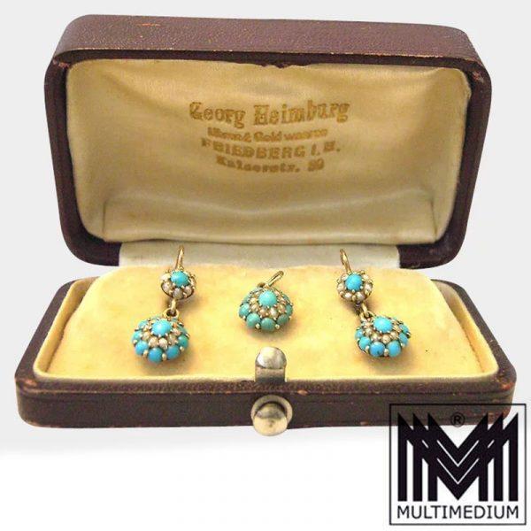 Antike Historismus 585 Gold Set Türkis Ohrringe und Anhänger Saatperlen um 1870