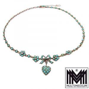 - VERKAUFT - Antikes Jugendstil Silber Collier Türkis Herz Blumen 1890 1900