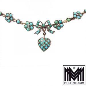 Antikes Jugendstil Silber Collier Türkis Herz Blumen 1890 1900