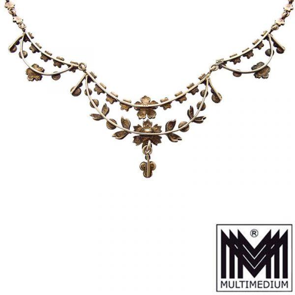 Antikes Jugendstil Silber vergoldetes Türkis Collier Blumen Blüten 1890 1900