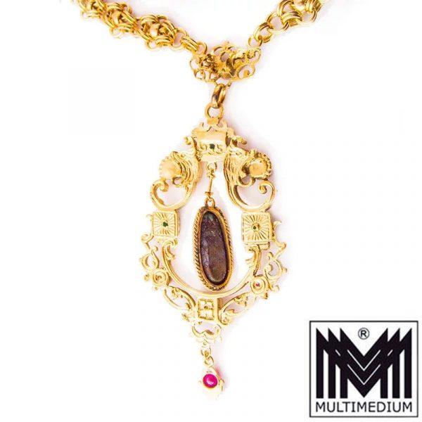 Antikes Jugendstil Silber vergoldetes Tükis Collier 1880-1900