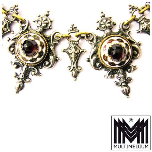 Antike viktorianische Historismus Collier Halskette Granat Paste Emaille Metall versilbert c.1870