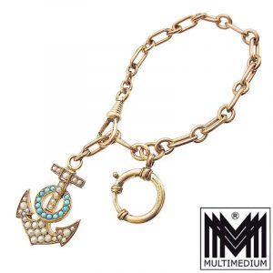 -VERKAUFT - Seltene antike Double Uhrenkette mit Anker Türkis Saatperlen