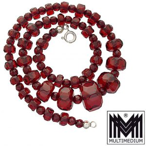 Art Deco Bernstein Optik Bakelit Rot Halskette cherry amber necklace