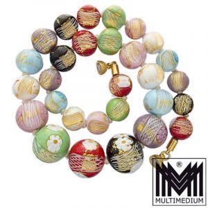 Murano Glas Halskette Blumen Faden Einschmelzungen Multicolor vintage glass necklace millefiori