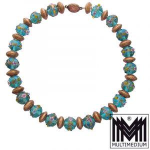 Alte Murano Aventurin Glas Halskette Blau vintage murano aventurine glass necklace millefiori