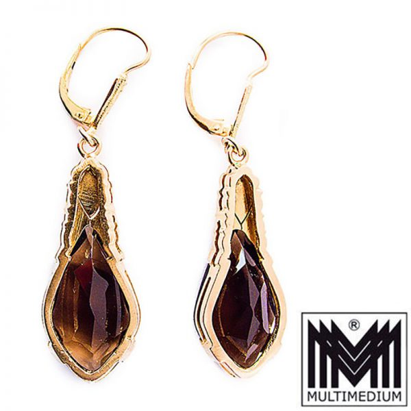 Große Art Deco Ohrringe Silber vergoldet Rauchquarz earrings silver gilt quartz