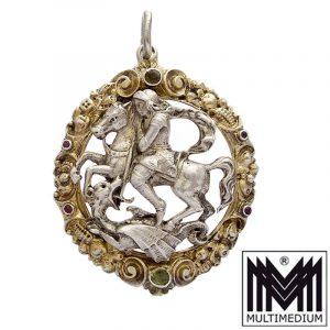 Amulett Silber Anhänger Heiliger Hl. St. Georg Drachentöter silver pendant dragon