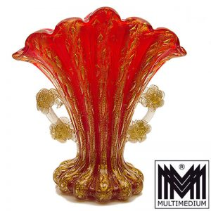 - VERKAUFT - Barovier & Toso Murano Glas Vase rot Goldpuder Cordonato d'oro glass