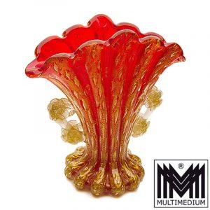 Barovier & Toso Murano Glas Vase rot Goldpuder Cordonato d'oro glass