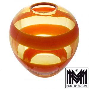 XXL Salviati Murano Glasvase Berit Johansson orange Streifen signiert