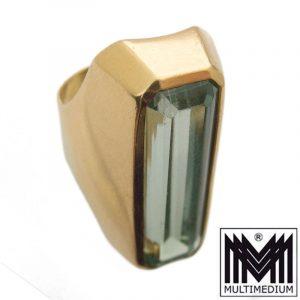750er Gold Damen Ring Turmalin farbener Stein grün tourmaline color