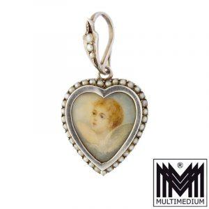 Antiker Silber Herz Medaillon Anhänger Engel Miniatur Malerei Saatperlen um 1920