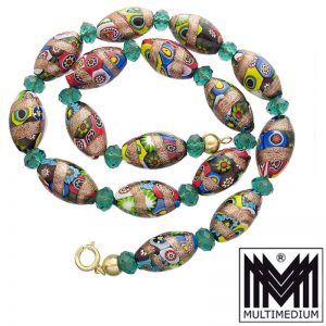 Murano Aventurin Glas Halskette vintage glass necklace millefiori