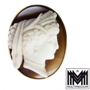 Historismus Brosche Achat Kamee Gemme Gelb gold 14ct 585 gold brooch agate cameo