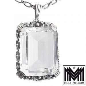 Riesiger Art Deco Silber Anhänger Bergkristall silver pendant mountain crystal
