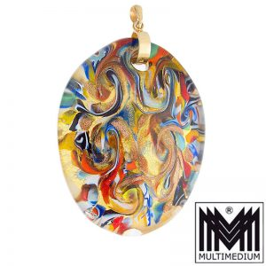Murano Glas Anhänger Goldfolie Aventurin glass pendant millefiori
