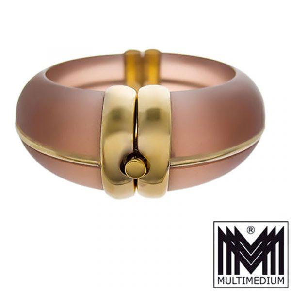 Seltener Modernist Silber Armreif Art Deco Stil Kunststoff signiert