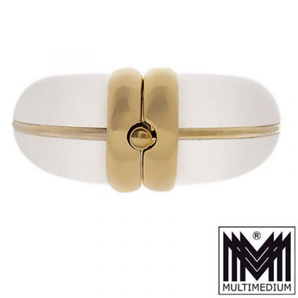 Rarer Modernist Silber verg. Armreif im Art Deco Kunststoff signiert