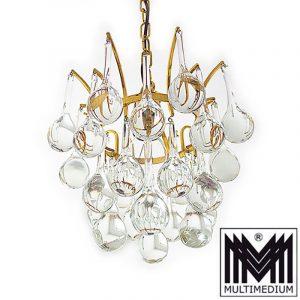 Christoph Palme Deckenlampe Messing Lampe Glas Tropfen 70er Jahre