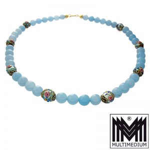 Vintage Murano Glas Halskette Hell Blau glass necklace light blue