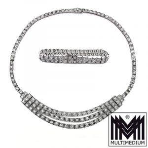 Art Deco Strass Set Collier Armband Silber 935 paste silver pendant bracelet