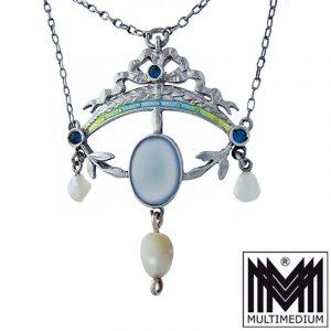 Jugendstil Silber Collier Anhänger Emaille Perle Chalzedon enamel