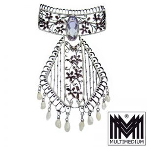 Jugendstil Brosche Emaille Süßwasserperlen Amethyst Art Nouveau silver enamel brooch pearls