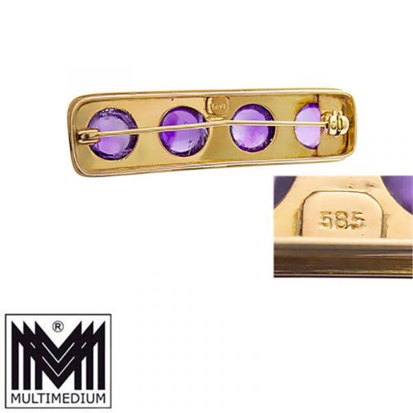 Art Deco 585 Gelbgold Brosche Amethyst Cabochon 14ct gold brooch