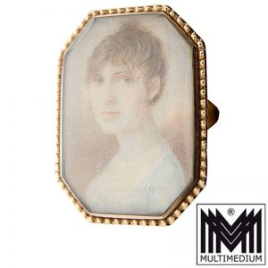 Biedermeier 585 Rotgold Miniatur Ring Bergkristall Empire miniature