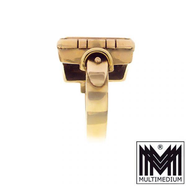 Edwardian Art Deco 585 Gold Onyx Herren Siegel Ring Fingerring