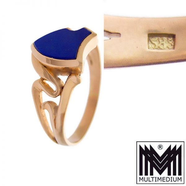 Jugendstil 585 Gold Lapislazuli Herren Ring Wappen Fingerring Siegel
