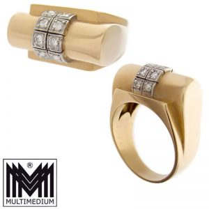 Art Deco 585 Gelbgold Damen Ring Diamant Fingerring 14ct gold diamond